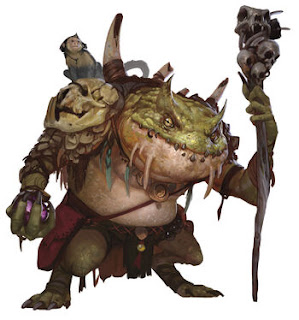 A bracharian humanoid with a staff in his green hand and a large pack on his back.