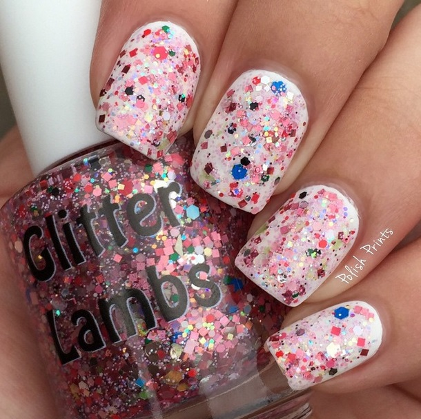 "Glitter Lambs ""Christmas Jelly Roll"" glitter topper nail polish worn by @PolishPrints"