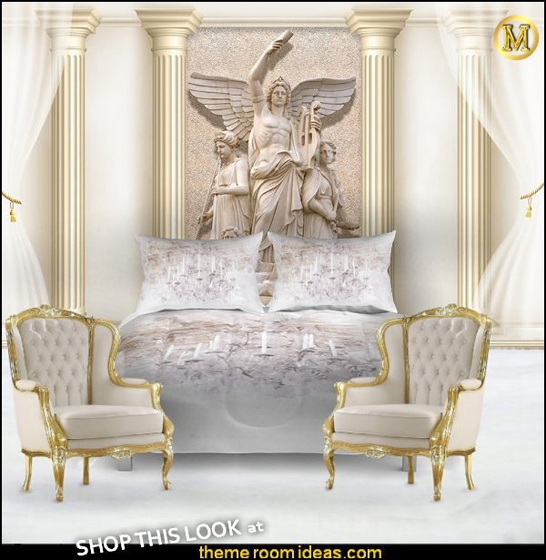 Angel Theme Decorating Ideas - Angel themed baby rooms angel decor - angel wings decor - greek theme room - roman theme rooms - mythology theme bedrooms - Ancient Greek Corinthian Column - Spartan Warrior Gladiators - Greek gods - greek roman decor - Greek Mythology Decorations  - cupid theme bedrooms - cherub throw pillows -  Greek key pattern  -  angelic bedrooms