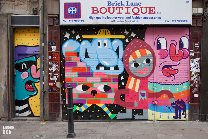 London street art roller shutter painted by artist Penfold, Malarky and more