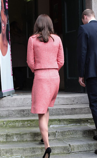 Prince William, Duke of Cambridge and Catherine, Duchess of Cambridge visit the mentoring programme of the XLP project. The Duchess wore EPONINE London Dress- SS16 Collection