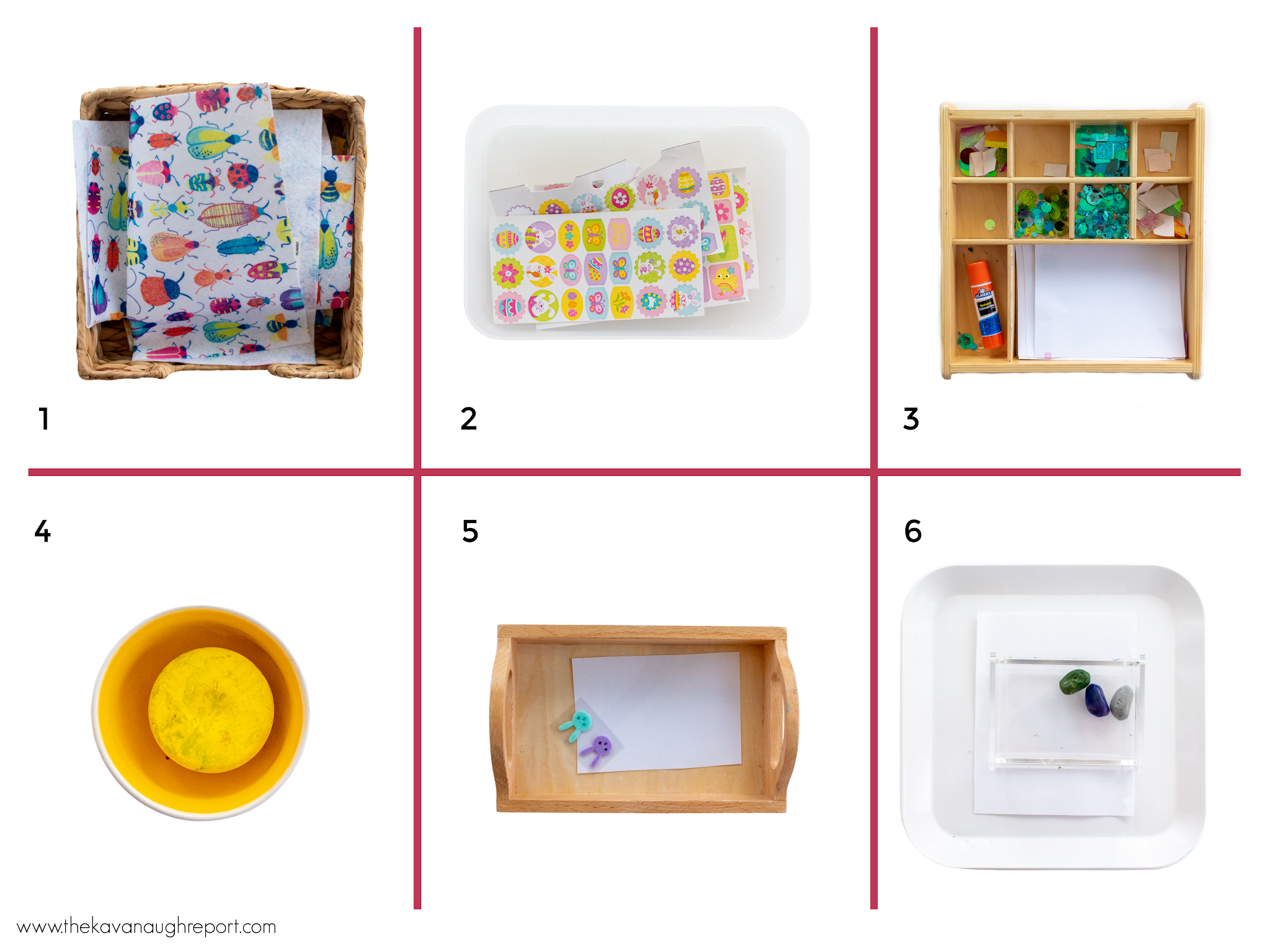 Montessori friendly art trays for toddlers, preschoolers and elementary kids in our Montessori home.