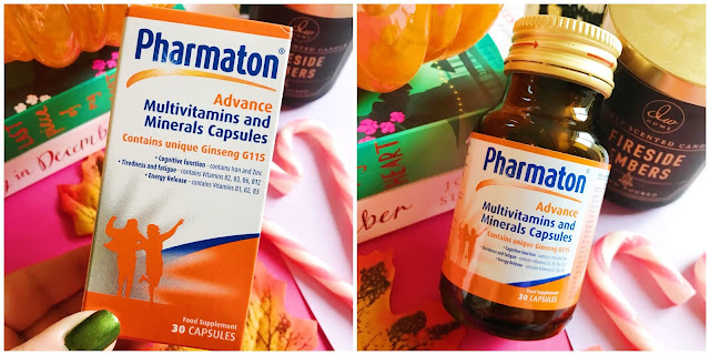 Pharmaton capsules collage - left side the box, right side is the bottle