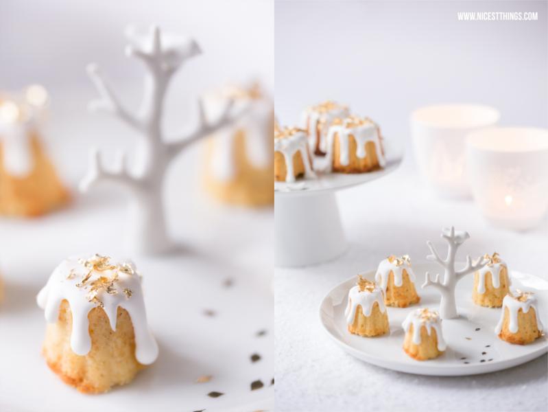 Cannelés oder gebrannte Mandeln Kuchen mit essbarem Blattgold