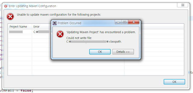 'Updating Maven Project' has encountered a problem. Could not write file: C:\...\.classpath.