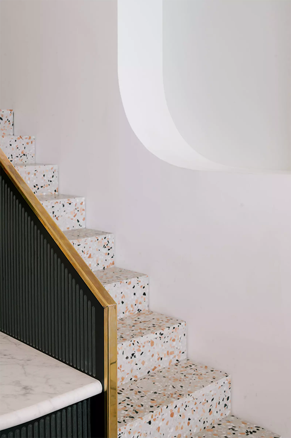 Terrazzo staircase in Paradiso Coffee Shop by NOMOS