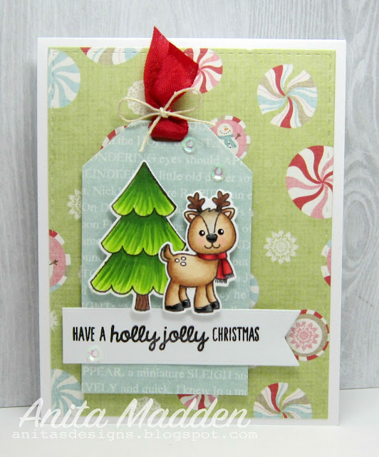 Sunny Studio Stamps: Gleeful Reindeer Holiday Christmas Card by Anita Madden.