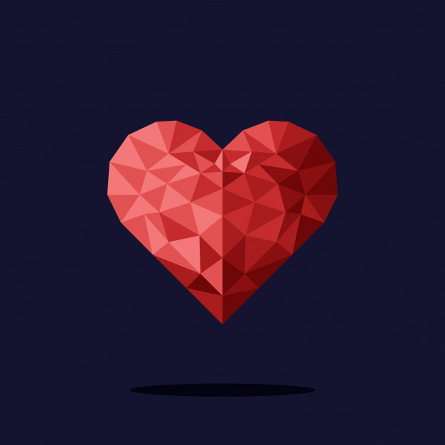Valentine background with polygonal heart Free Vector