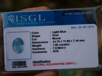 sertifikat batu aquamarine