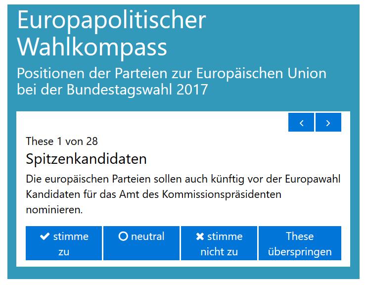 Screenshot Europapolitischer Wahlkompass