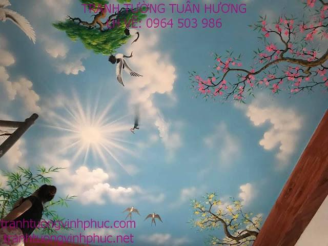 vẽ trần mây 3d tại bạch hạc vĩnh tường34