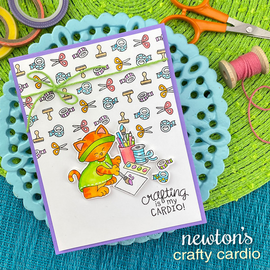 Crafty Cardio Kitty Card by Jennifer Jackson | Newton's Crafty Cardio Stamp Set by Newton's Nook Designs #newtonsnook #handmade
