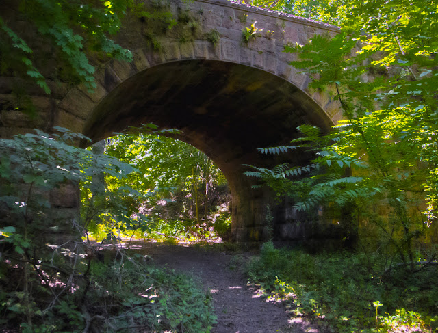 Trail passing under a masonic tunnel, East Rock Park