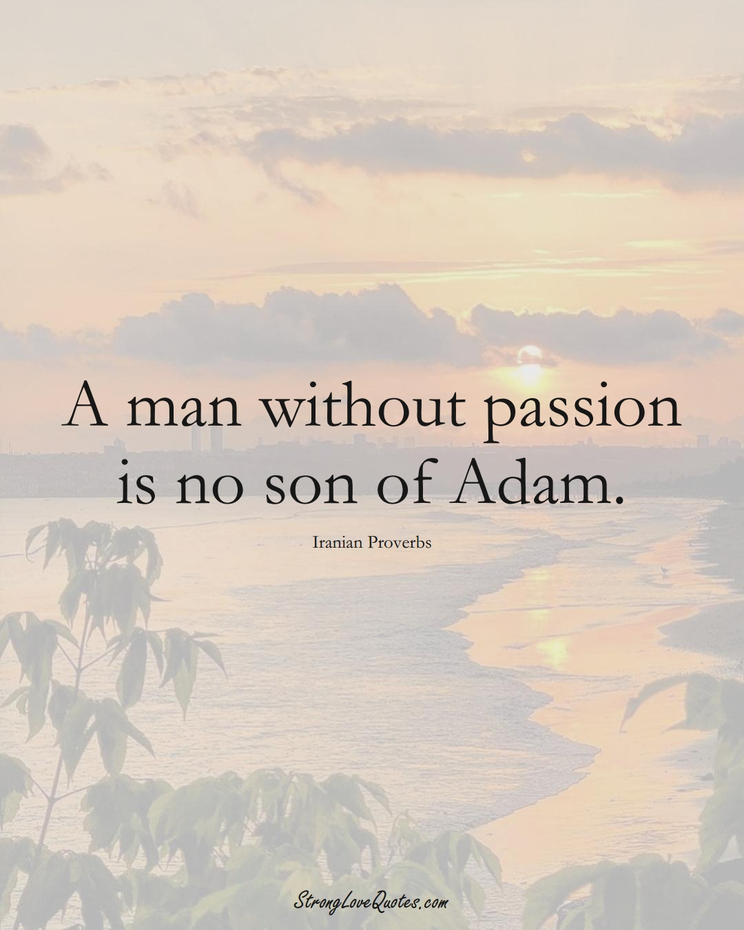 A man without passion is no son of Adam. (Iranian Sayings);  #MiddleEasternSayings