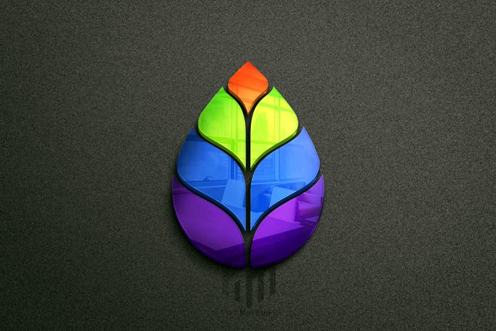 Beautiful Colorful Leaf Logo Design Mockup