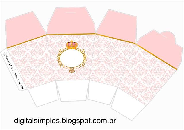 """Caja tipo """"de comida china"""" de Corona Dorada en Fondo Rosa."""