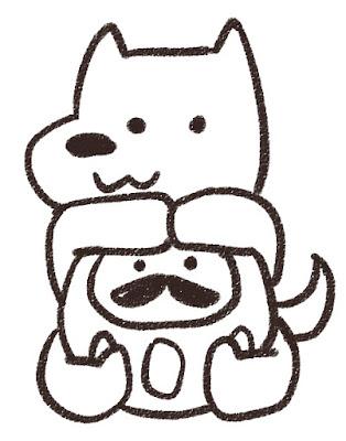 ダルマを抱えた犬のイラスト(戌年)白黒線画