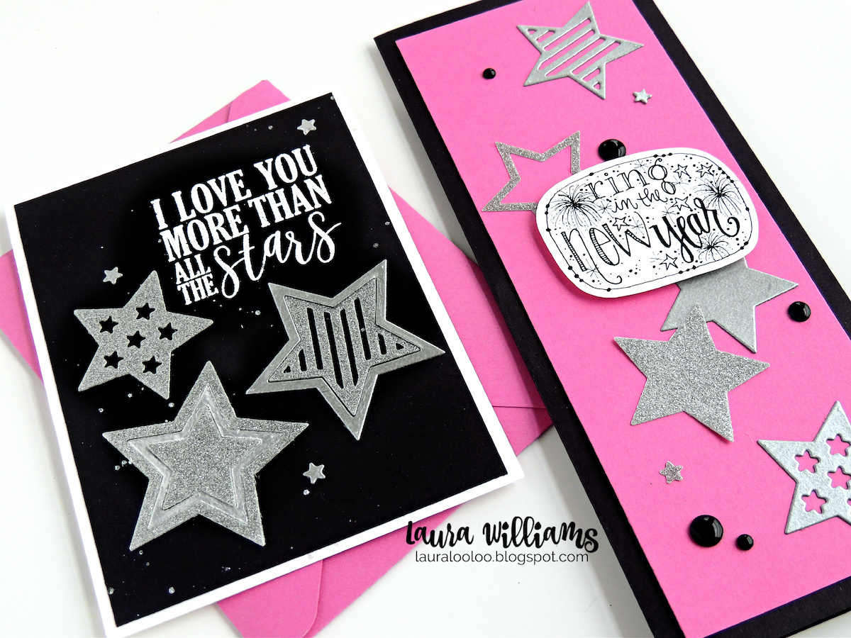 Die cut stars are versatile for a variety of handmade card ideas - they're festive for birthday cards and crafts, and patriotic cards too, like 4th of July or Veterans Day. When cut from sparkly silver cardstock, die cut stars are also beautiful for New Years Eve cards to ring in the new year! Click to see die cutting ideas for handmade cardmaking ideas for festive New Years Card.