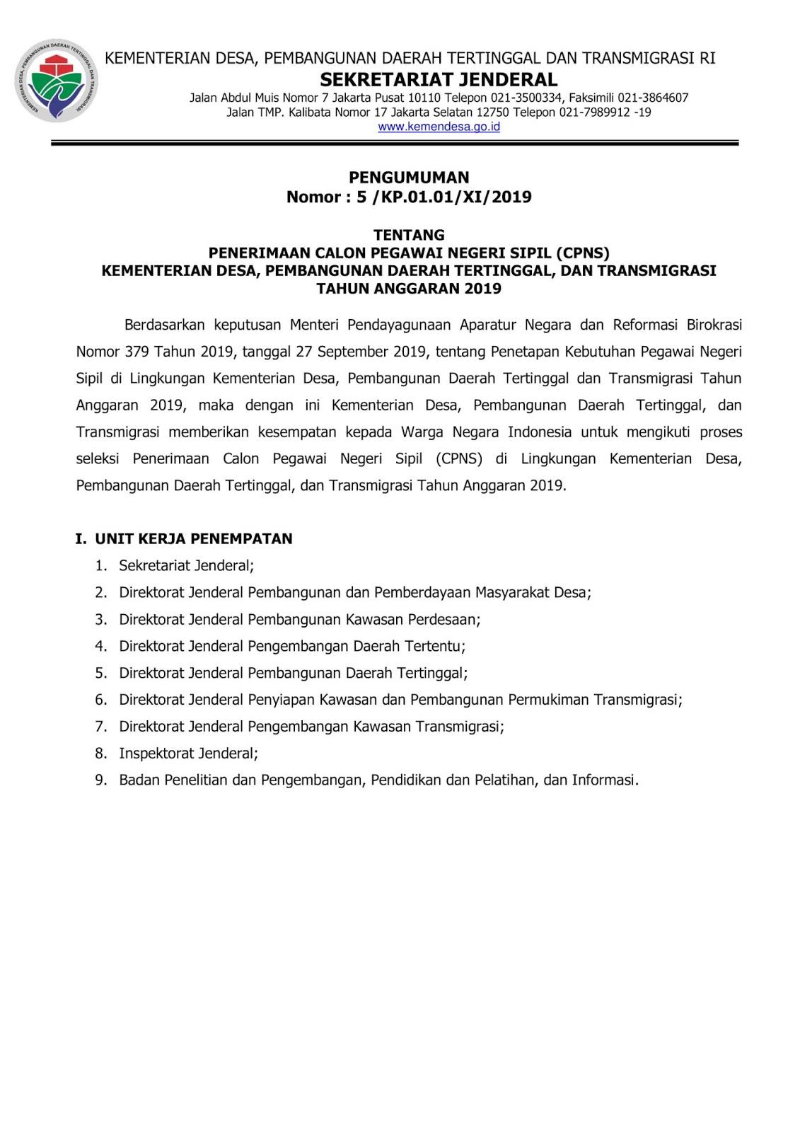 Lowongan CPNS Kementerian Desa, Pembangunan Daerah Tertinggal Dan Transmigrasi Republik Indonesia Tahun Anggaran 2019 [230 Formasi]