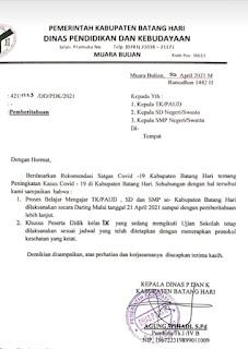 Terkait Peningkatan Kasus Pandemi Covid-19 Di Kabupaten Batanghari , Sistem Pembelajaran Dilakukan Secara Daring