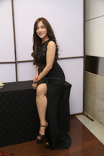 Angela Krislinzki in Transparent Black Gown at Rogue Movie Teaser Launch 1st March 2017 066.JPG