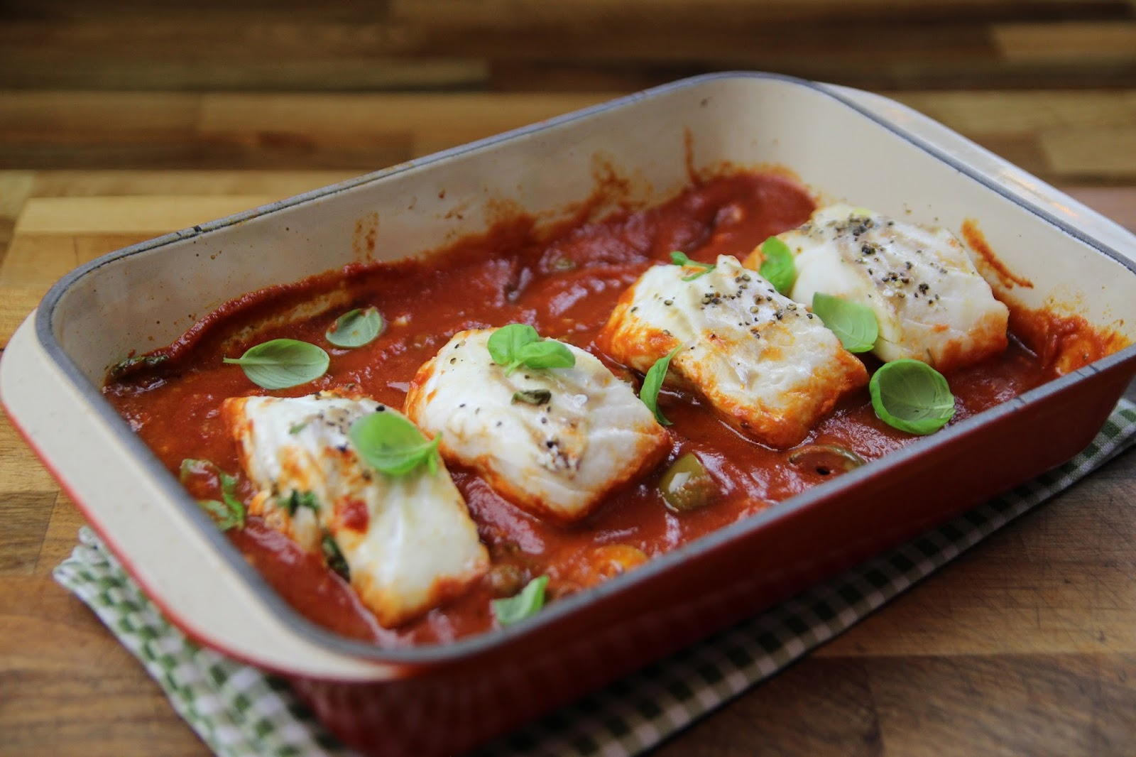 Baked Cod with Tomato and Olive Sauce