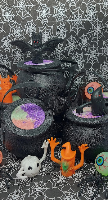 Cauldron Bath Bombs with halloween toys from RachelsBathTubTreat on Etsy