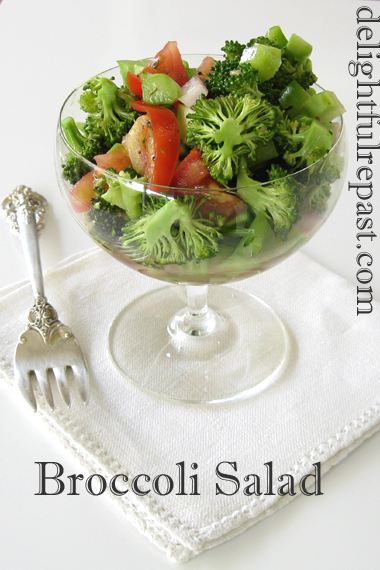 Broccoli Salad (vinegar and oil type) - in this photo, an individual serving in a crystal coupe / www.delightfulrepast.com