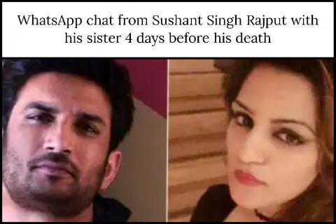 WhatsApp chat from Sushant Singh Rajput with his sister 4 days before his death
