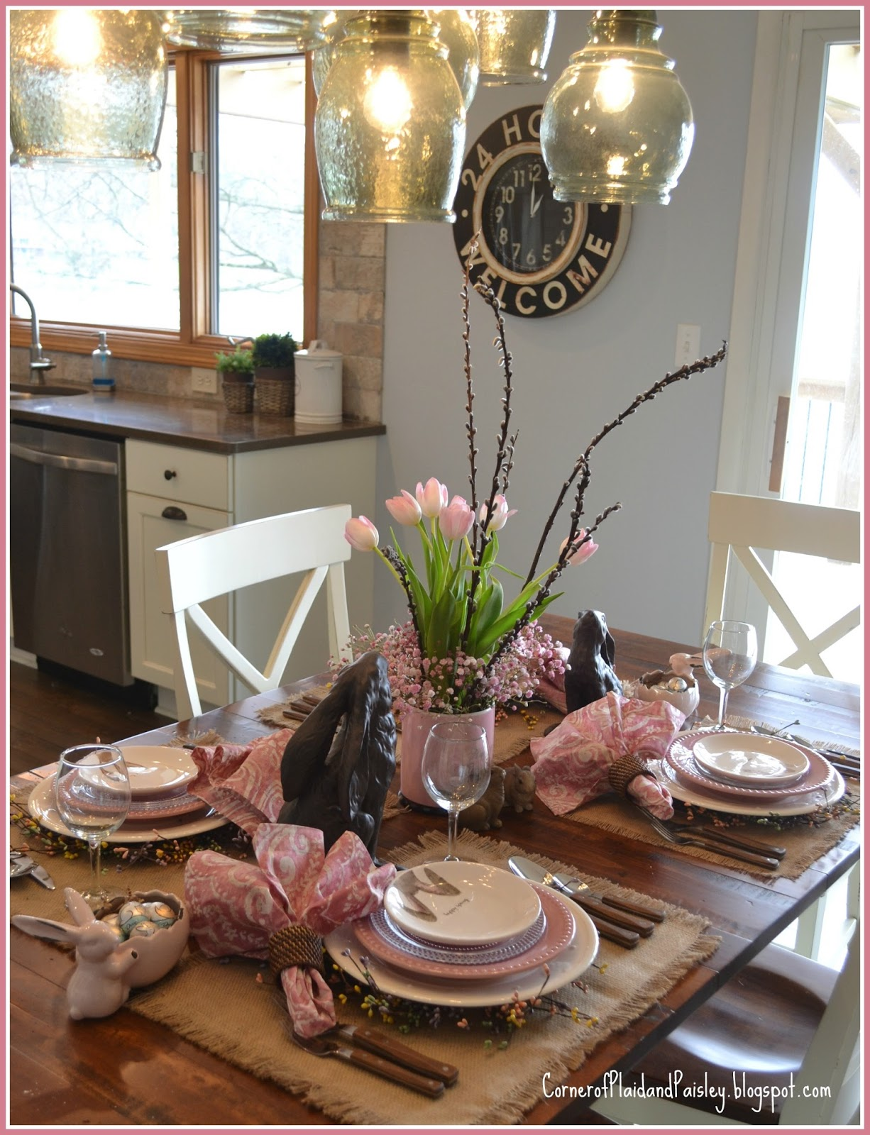 Corner Of Plaid And Paisley Easter Tablescape Bunny Ears