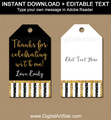 black and gold glitter birthday Tags for 50th birthday party