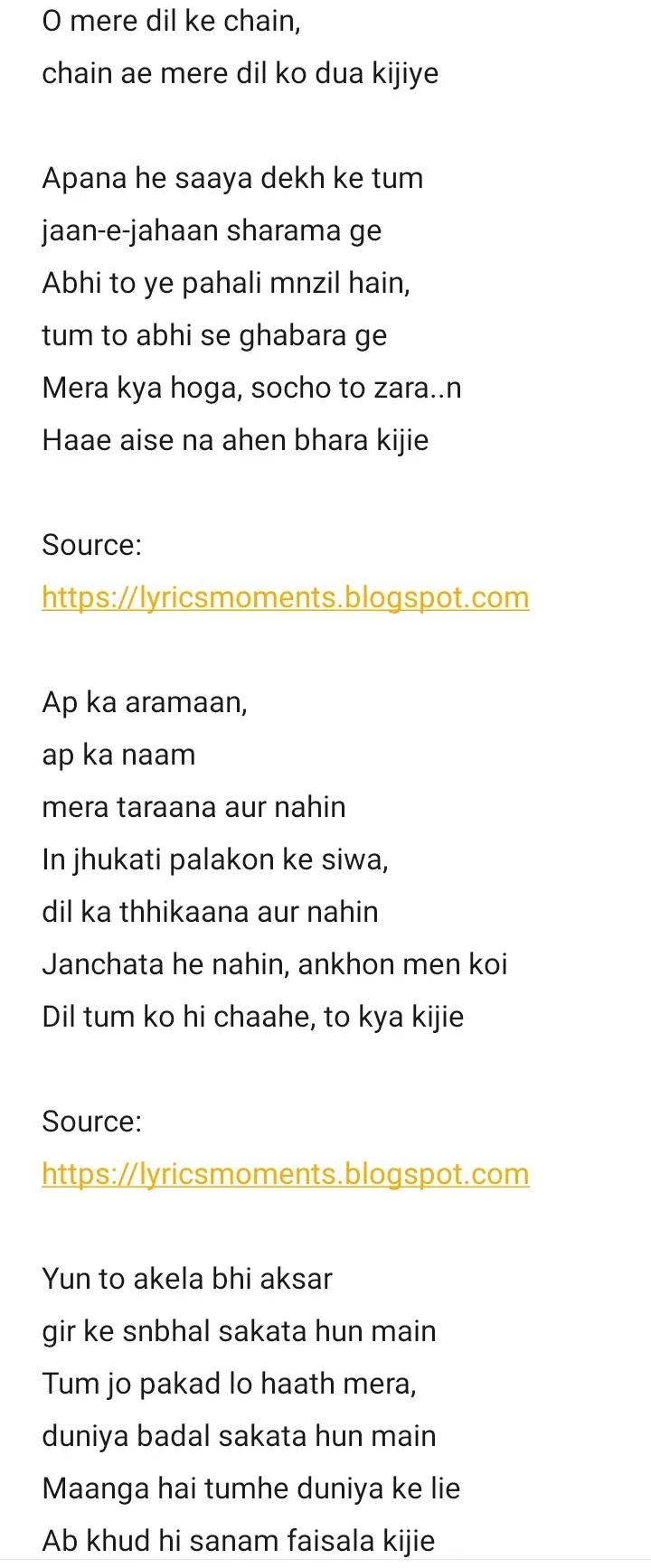 O mere Dil ke chain lyrics- kishore kumar | mere Jeevan Saathi | sanam band