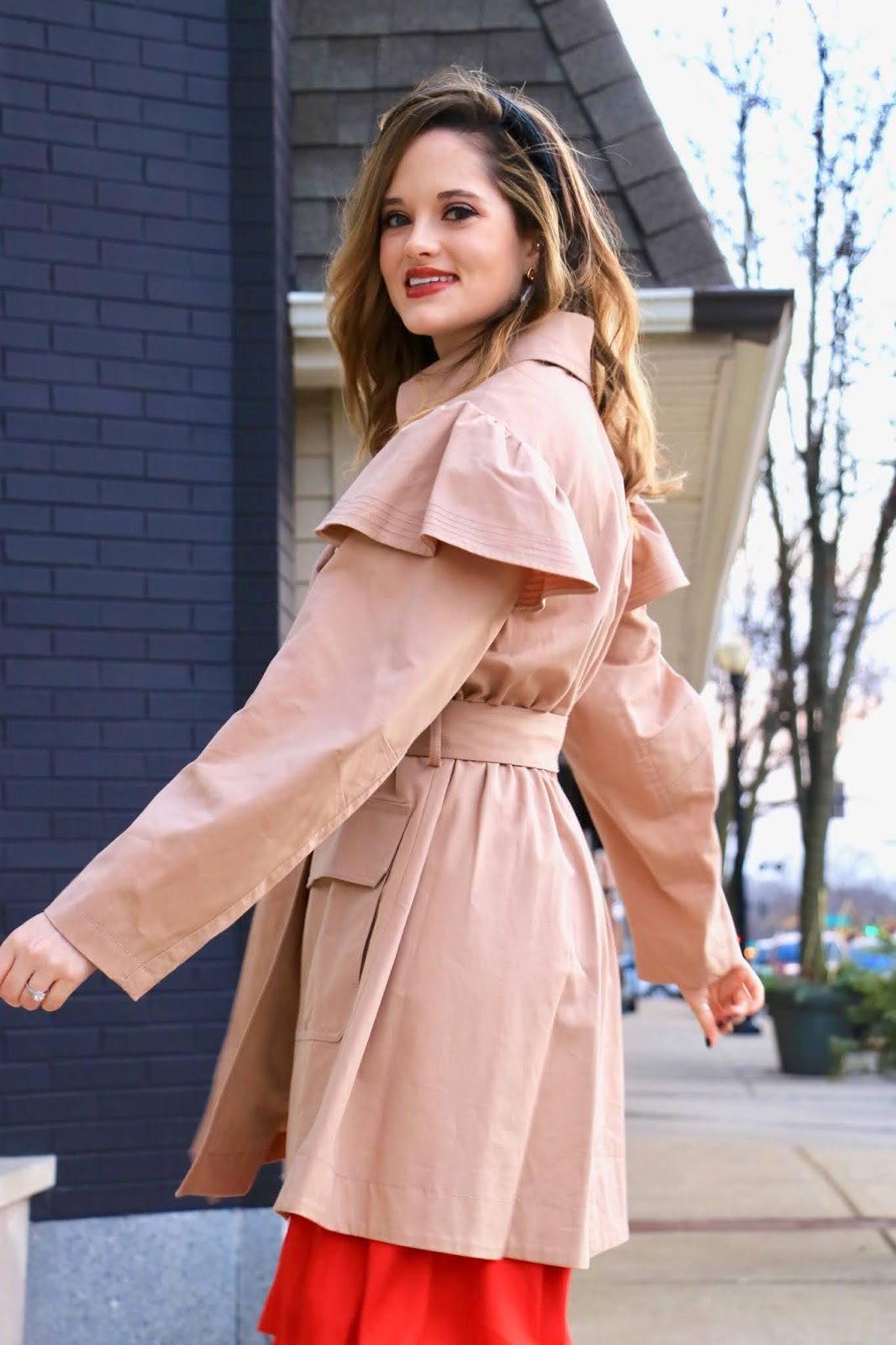 Nyc fashion blogger Kathleen Harper wearing a Rebecca Taylor trench coat with ruffles.