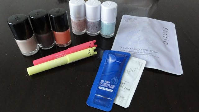 Tony Moly nail polishes, petite bunny gloss bars, and freebies