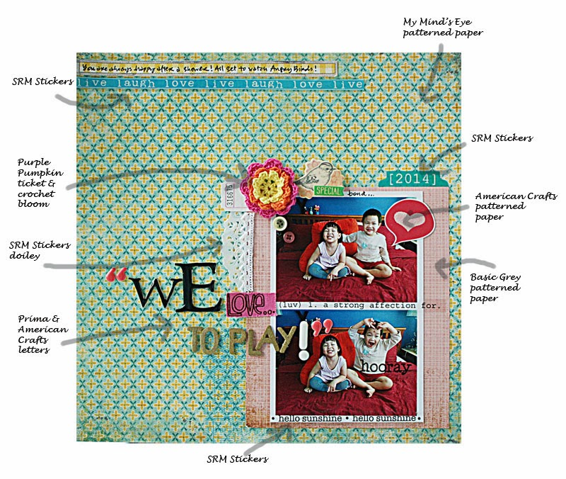 SRM Stickers Blog - Love to Play Layout by Yvonne - #layout #stickers #doily #borders #materials