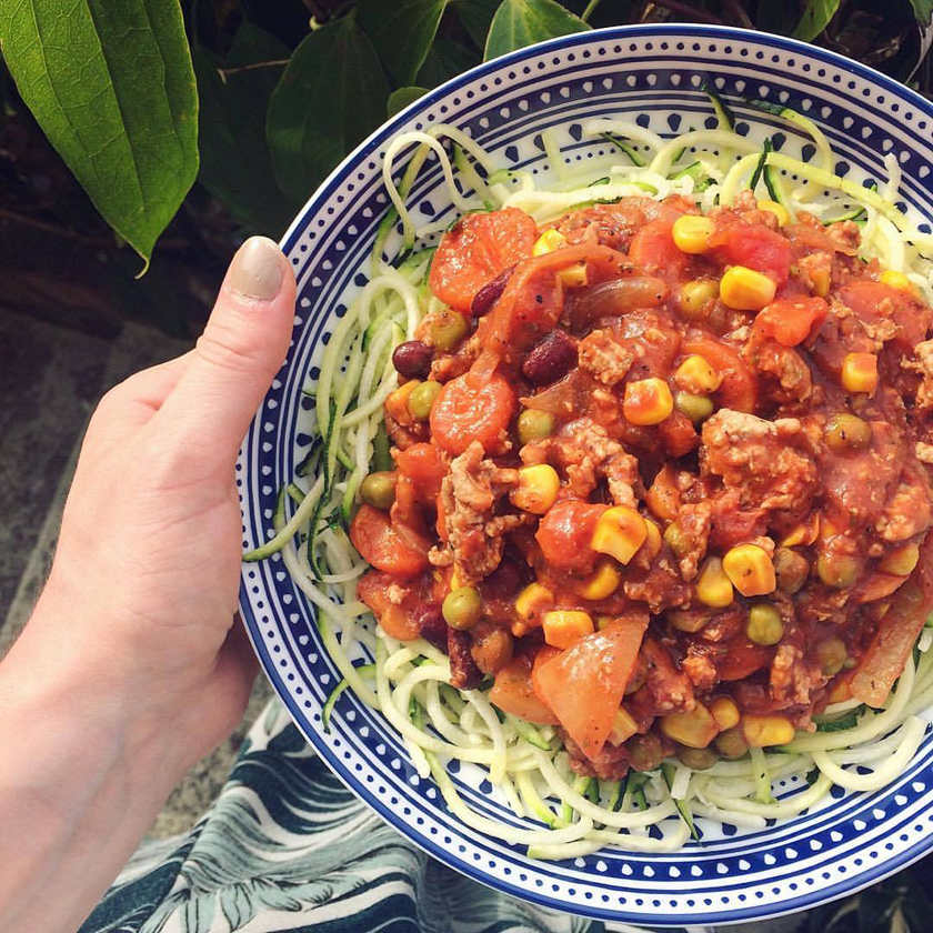 Courgetti Bolognese Recipe - high protein, high fibre, low carb, eat clean, 5 a day, eat the rainbow