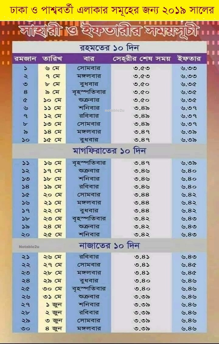 Ramadan Calendar 2019.Ramadan Calendar In Bangladesh 2019 By Notable2u Notable2u