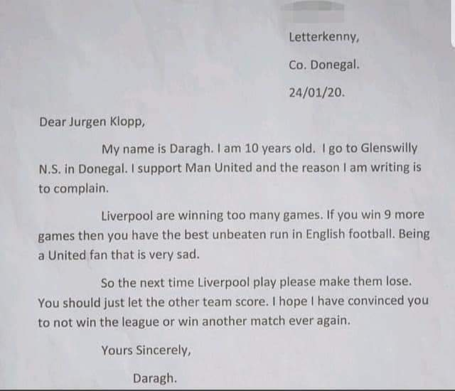 Daragh's letter to klopp
