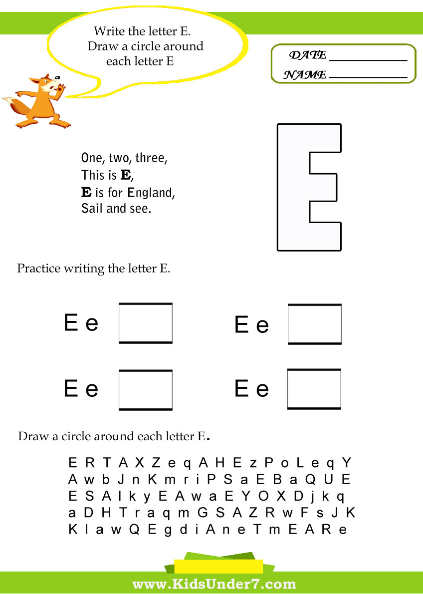 Kids Under 7: Letter E Worksheets
