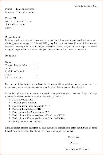 Contoh Application Letter Untuk Driver Operasional (Fresh Graduate) Berdasarkan Informasi Dari Media Sosial