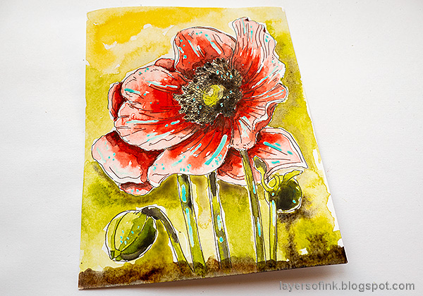 Layers of ink - Poppy Watercolor Tutorial by Anna-Karin Evaldsson. Paint the background.