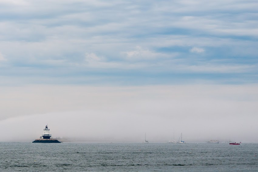 Portland, Maine USA July 2017 photo by Corey Templeton dramatic fog on Casco Bay cruising on the ferry to Peaks Island.