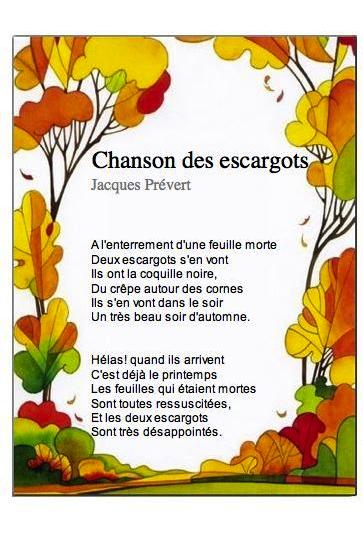 Jacques Prévert Chanson Des Escargots Qui Vont A L'enterrement : jacques, prévert, chanson, escargots, l'enterrement, Afafa...randole:, Septembre