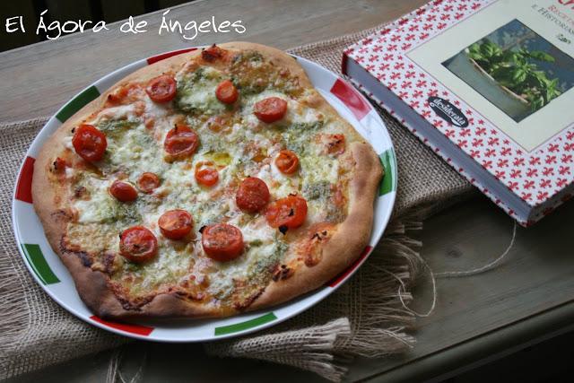 pizza casera, pizza caprese