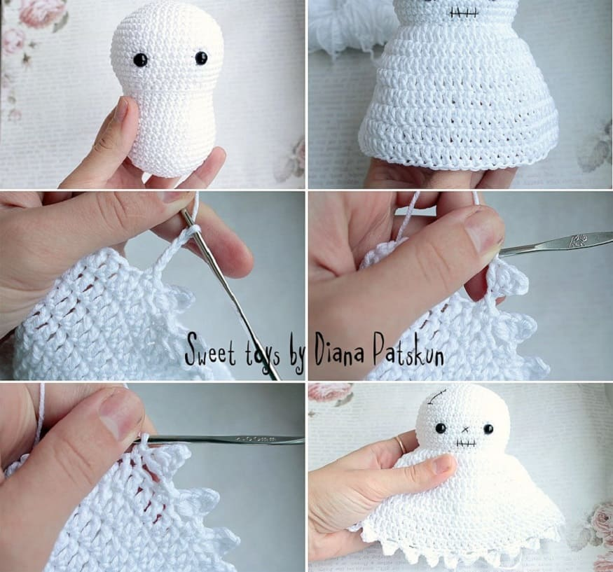 Crochet ghost tutorial head and body