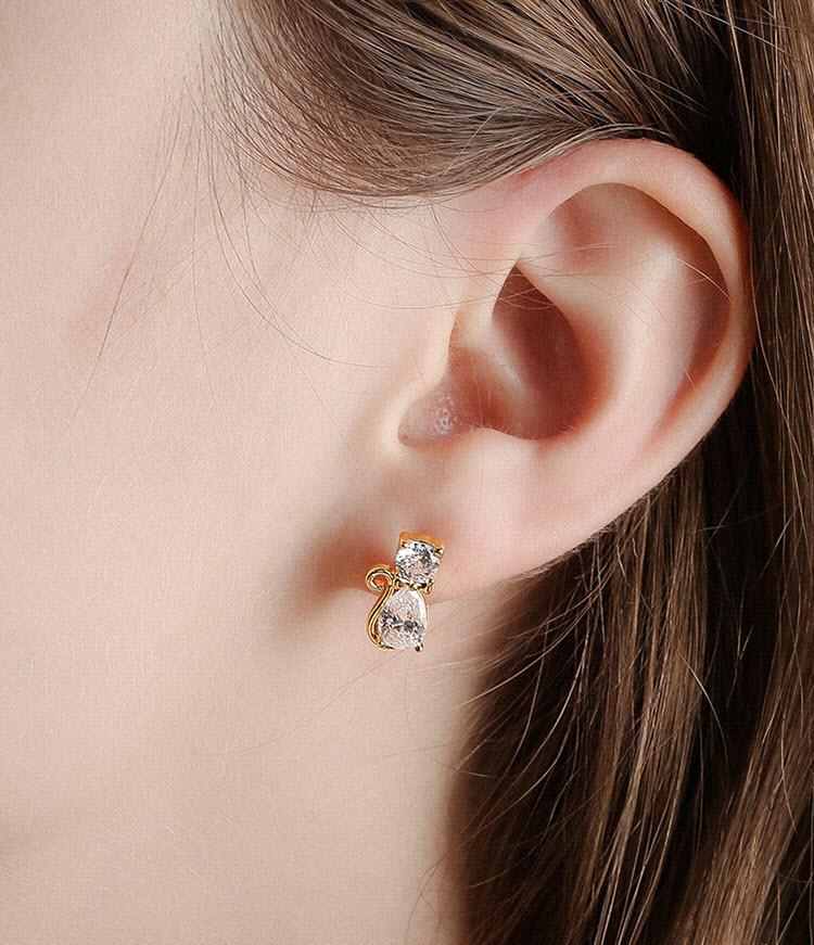 不對稱風喵與滴釉喵掌鋯石耳環