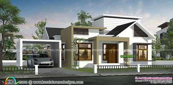 1750 sq-ft 3 bedroom single floor modern house