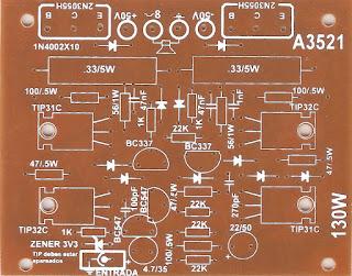 Este es un ejemplo de las serigrafias que esquematizan el montaje del circuito para que fue diseñada la plaqueta.