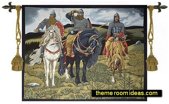 medieval wall tapestry-Cavalier Tapestry Wall Hanging-medieval bedroom wall decorations