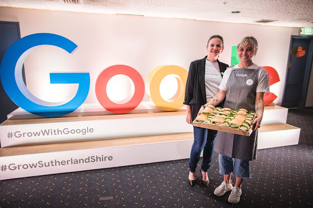 Photo of Google Australia Country Director Mel Silva with Kirsty Tilla, owner of Cronulla business LOAF Sandwiches.